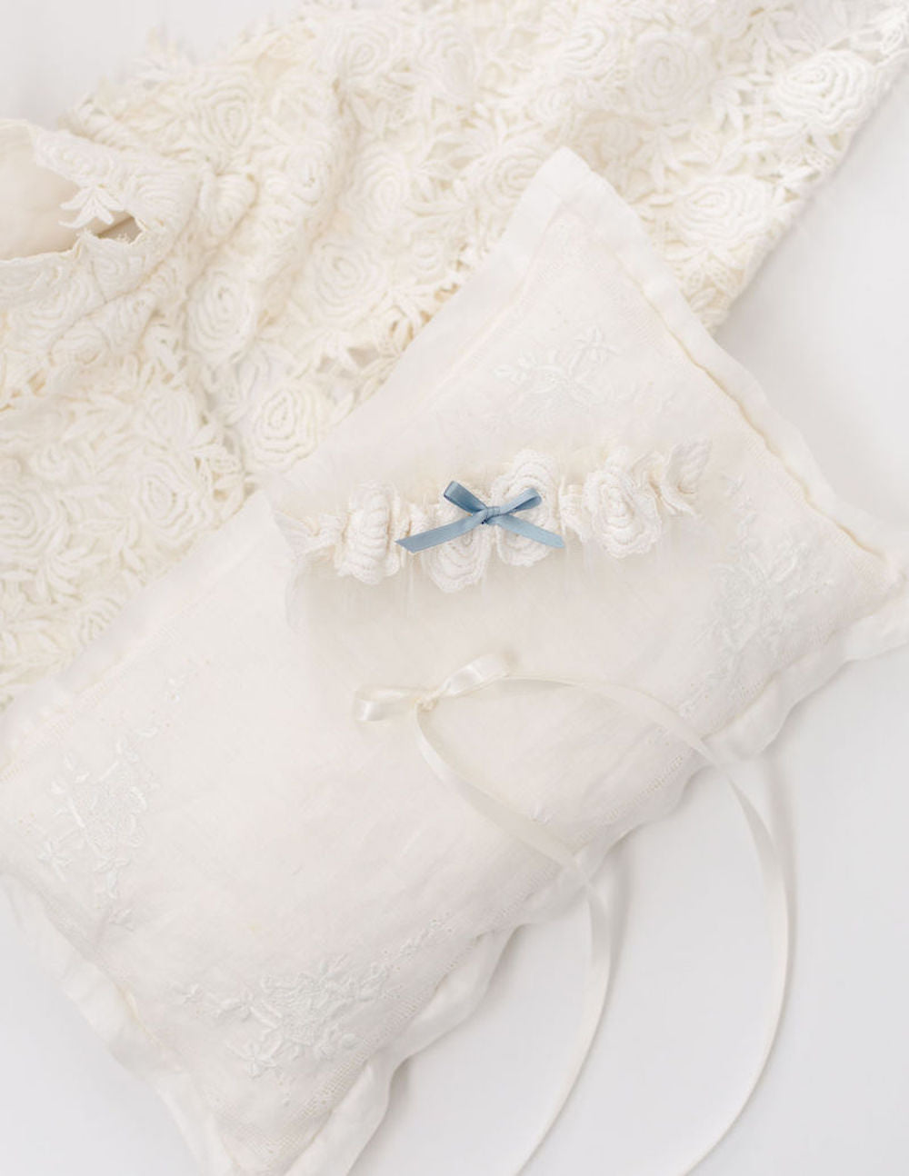 custom wedding garter heirloom and ring pillow made from grandmother's handkerchief by The Garter Girl