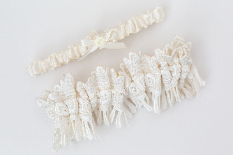 custom wedding garter set made from mother's dress with personalization on inside
