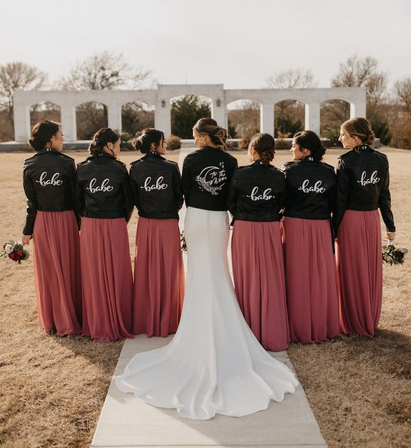 Custom Hand Painted Leather Jackets for Bridesmaids and Bride