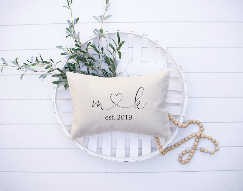 personalized heart pillow for engaged couple gift