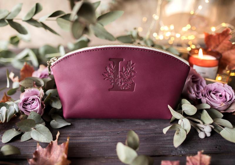 Custom Initial Leather Makeup Bag