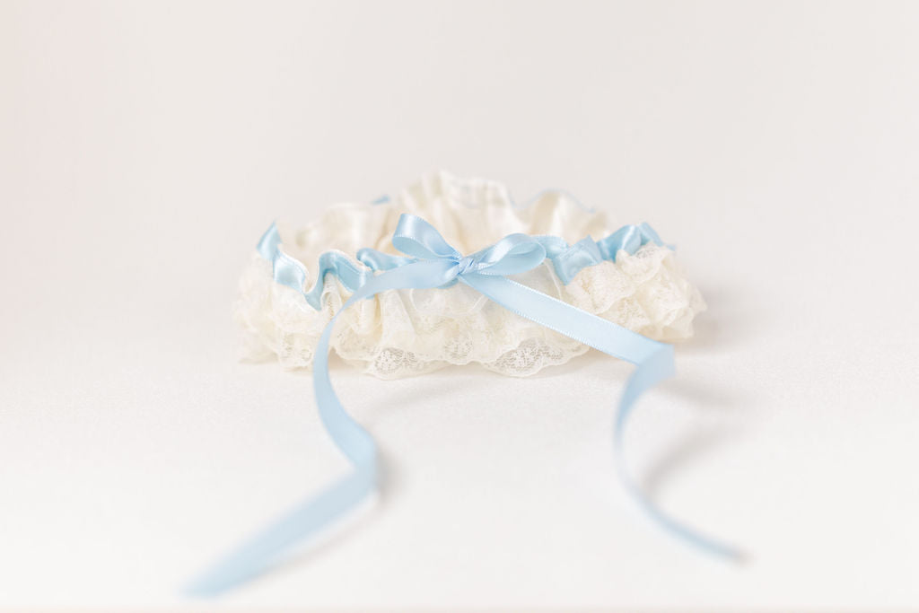 custom bridal garter personalized with wedding date