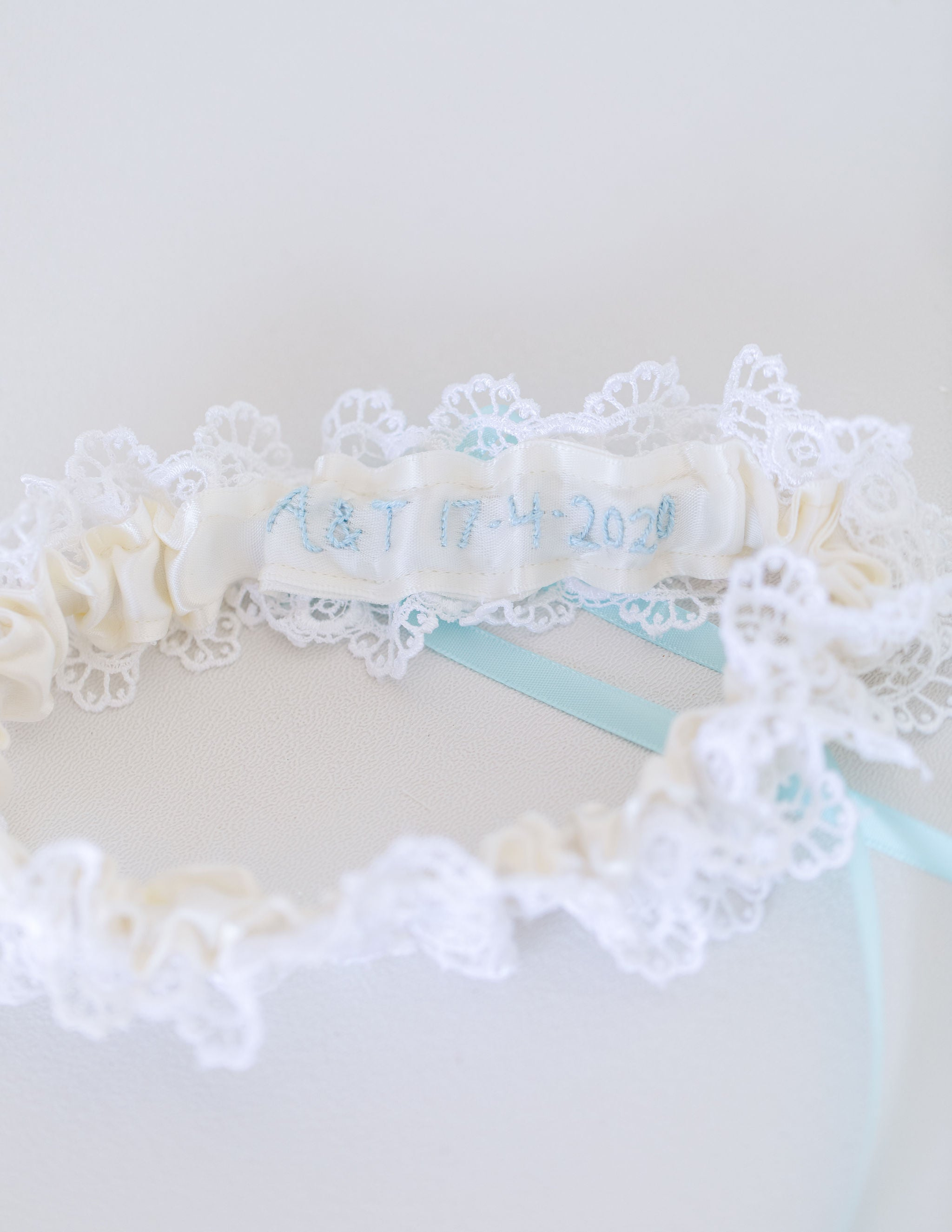 custom wedding garter heirloom handmade with lace and something blue by The Garter Girl