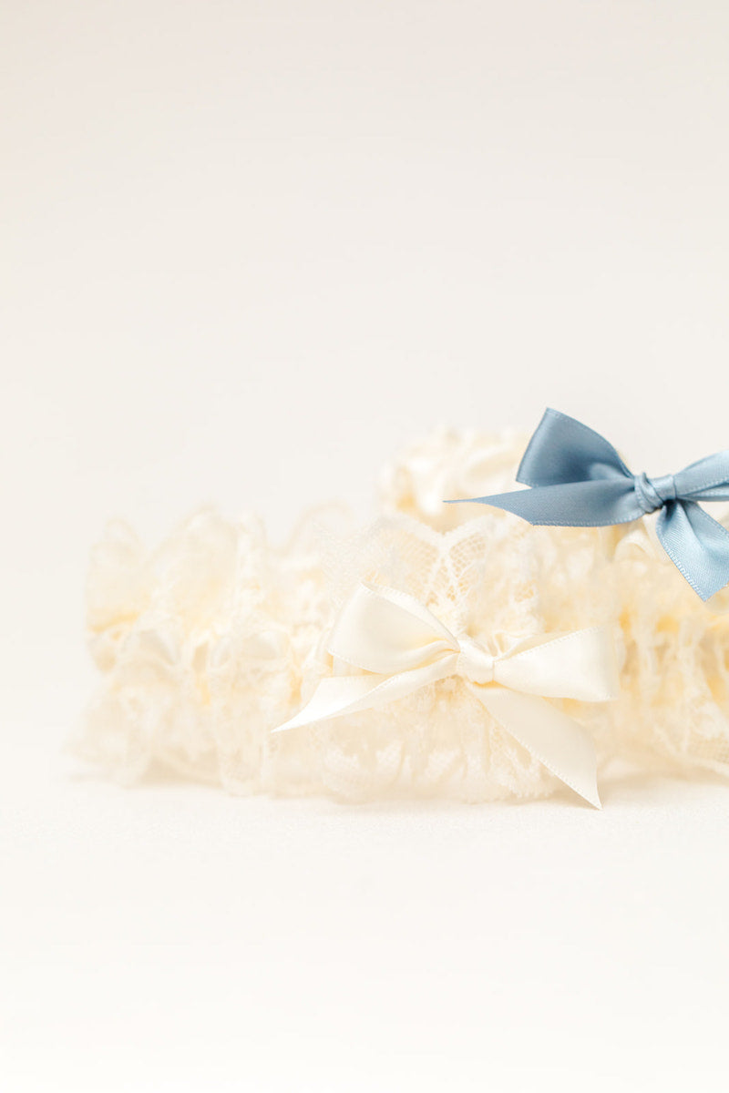 custom garter set with ivory lace and dusty blue