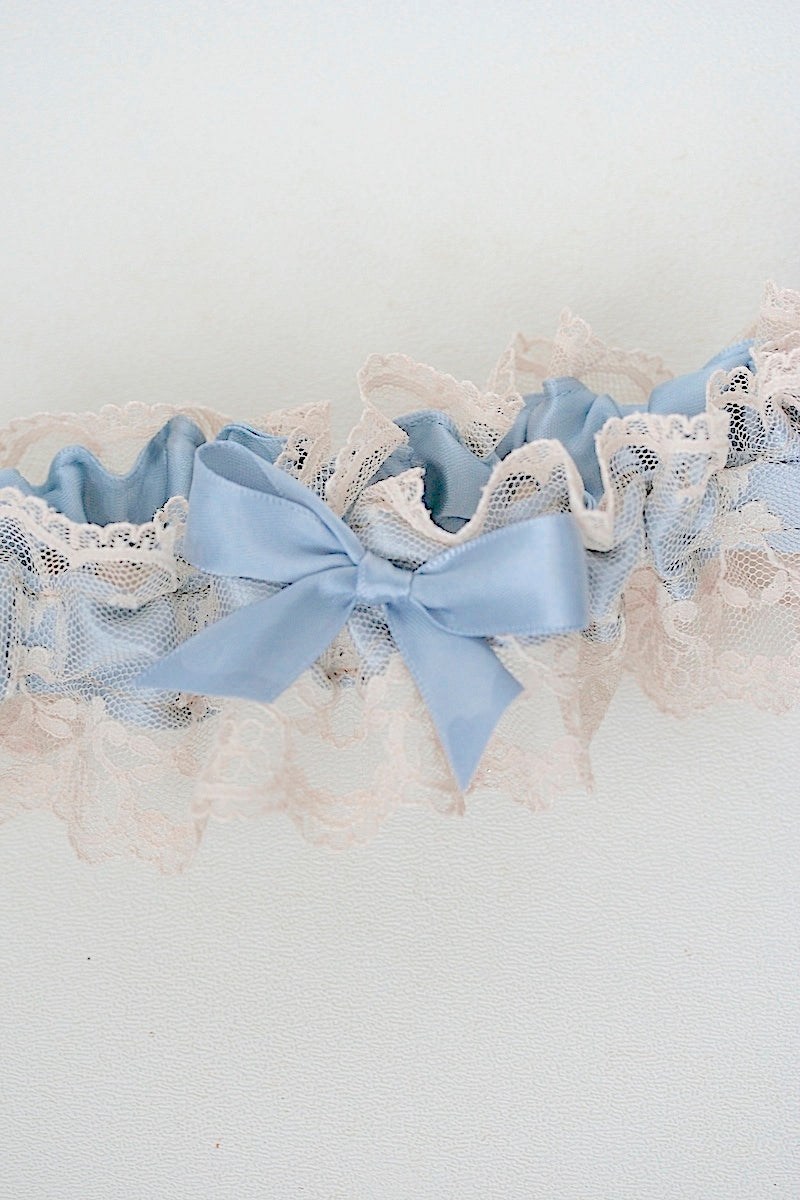 champagne lace wedding garter with dusty blue satin