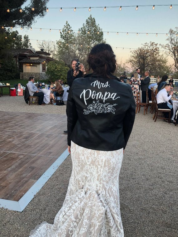 bride in leather jacket