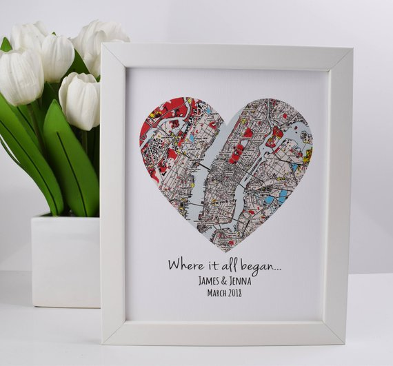 custom map wedding engagement gift