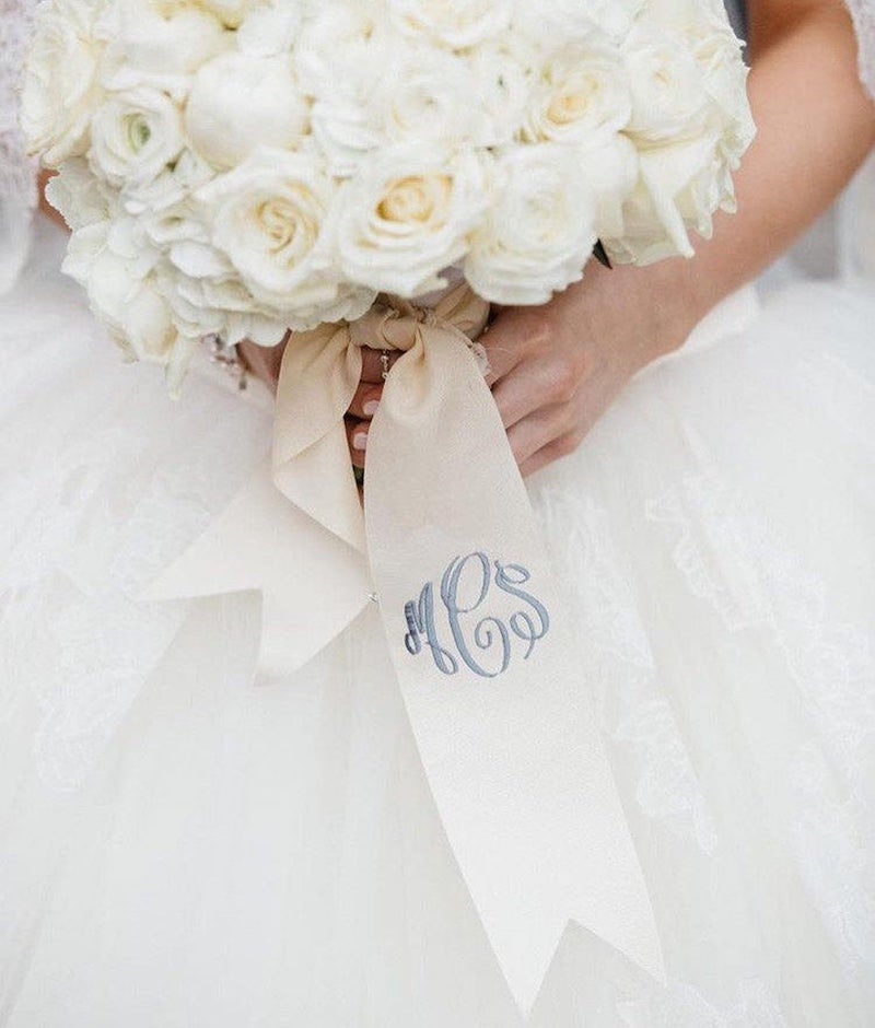 Custom Monogrammed Bouquet Ribbon Something Blue for Bride