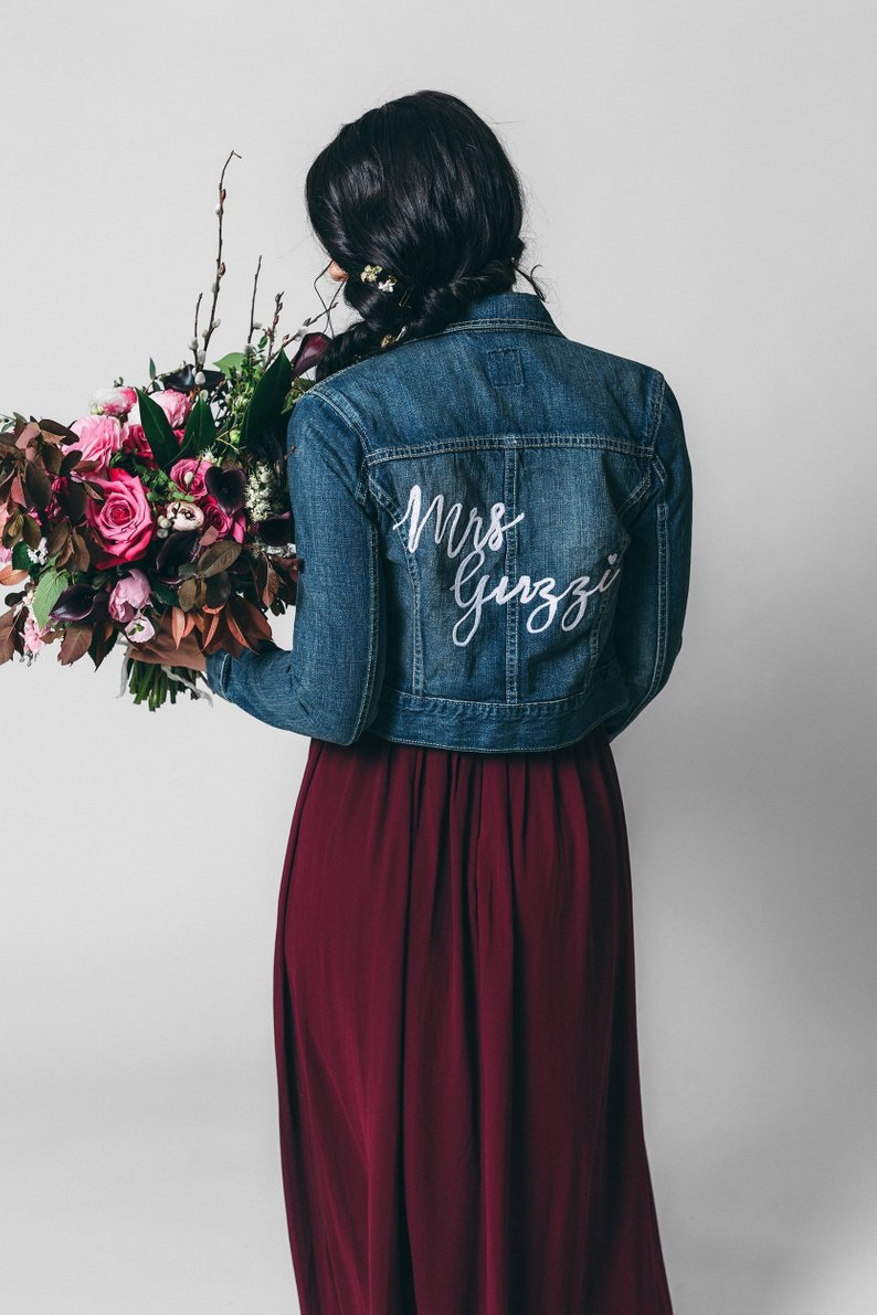 custom mrs. dark denim bridal jean jacket