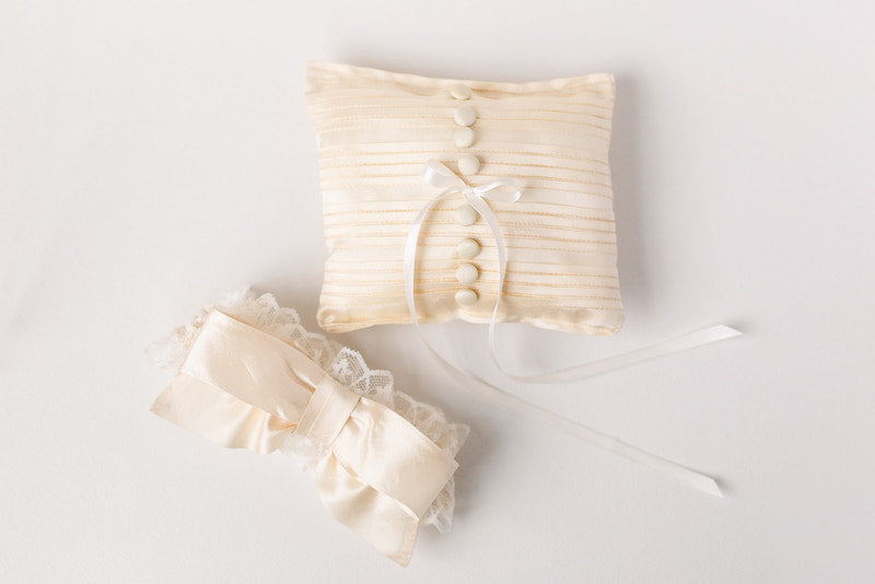 personalized wedding garter and ring bearer pillow made from mother's wedding dress