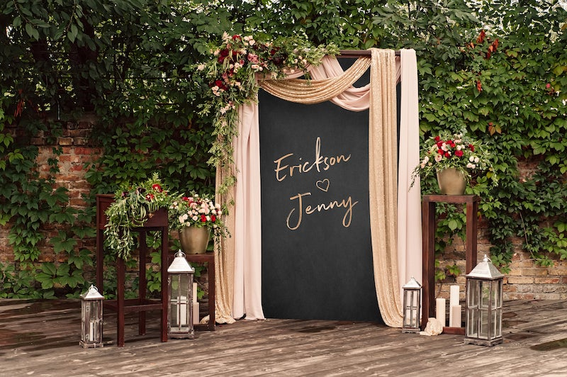 Custom Rose Gold Wedding Backdrop with Drapery