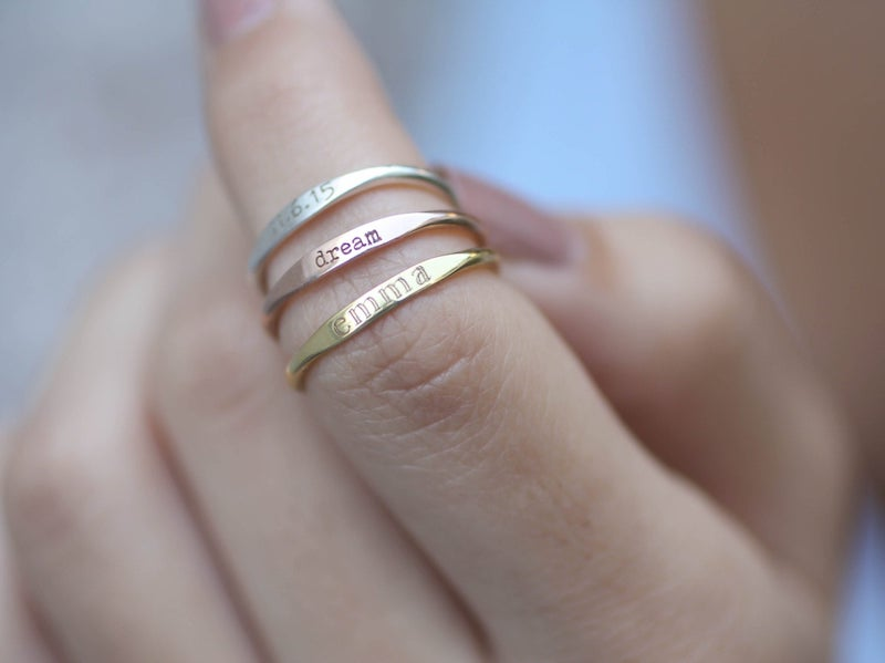 custom stacking name rings