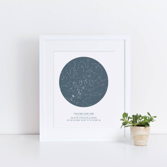 custom star map wedding engagement gift