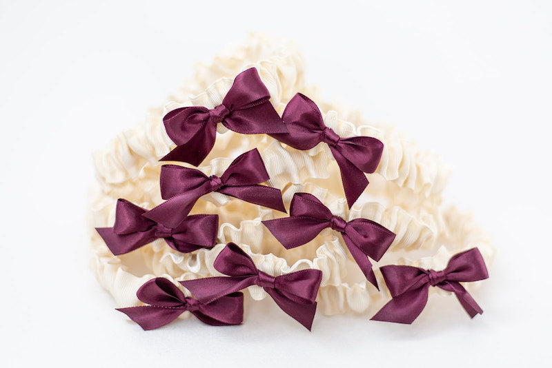 custom tossing garter for wedding party with wine satin and ivory grosgrain