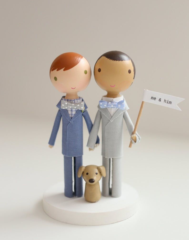 custom wooden peg doll cake topper