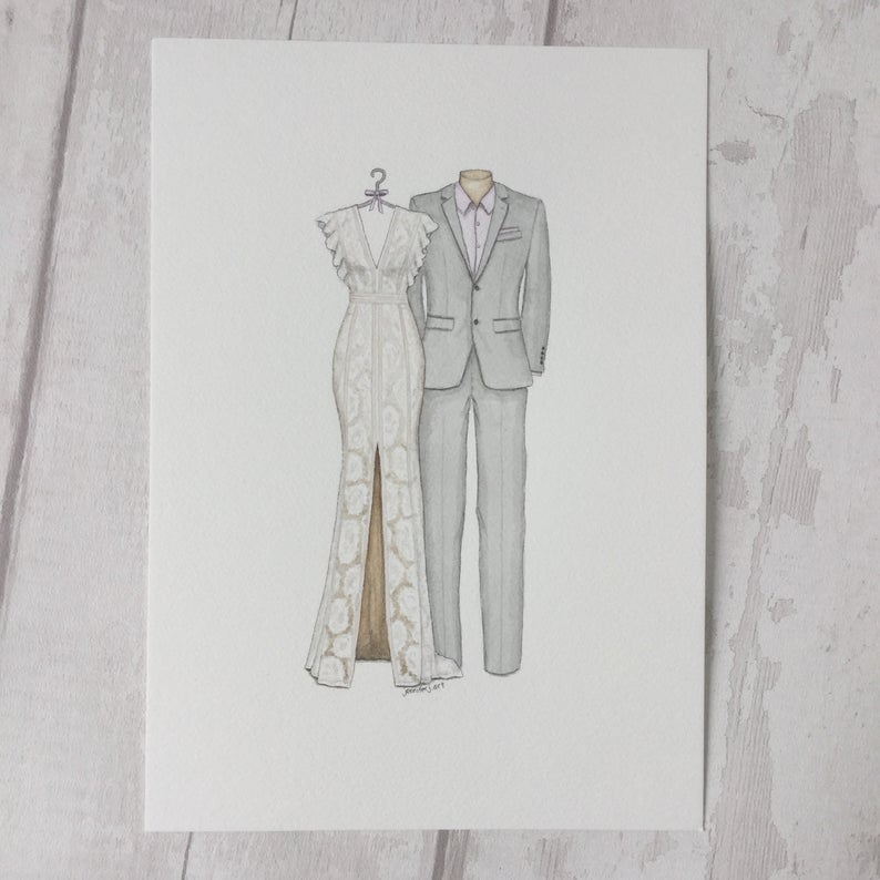 Custom Wedding Dress and Suit Sketch