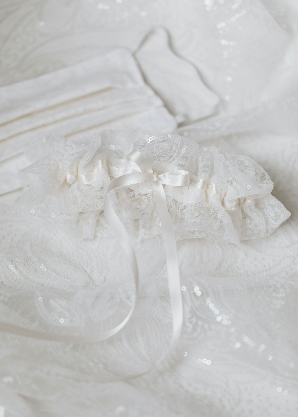 sparkle lace custom wedding garter & face mask from the bride's wedding dress fabric handmade heirloom by The Garter Girl