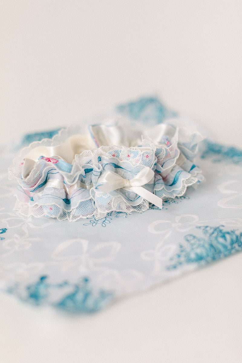 custom garter made from grandmother's handkerchiefs