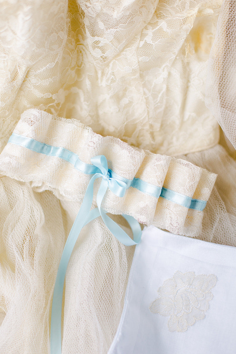 custom wedding garter and handkerchief made from bride's mother's wedding dress