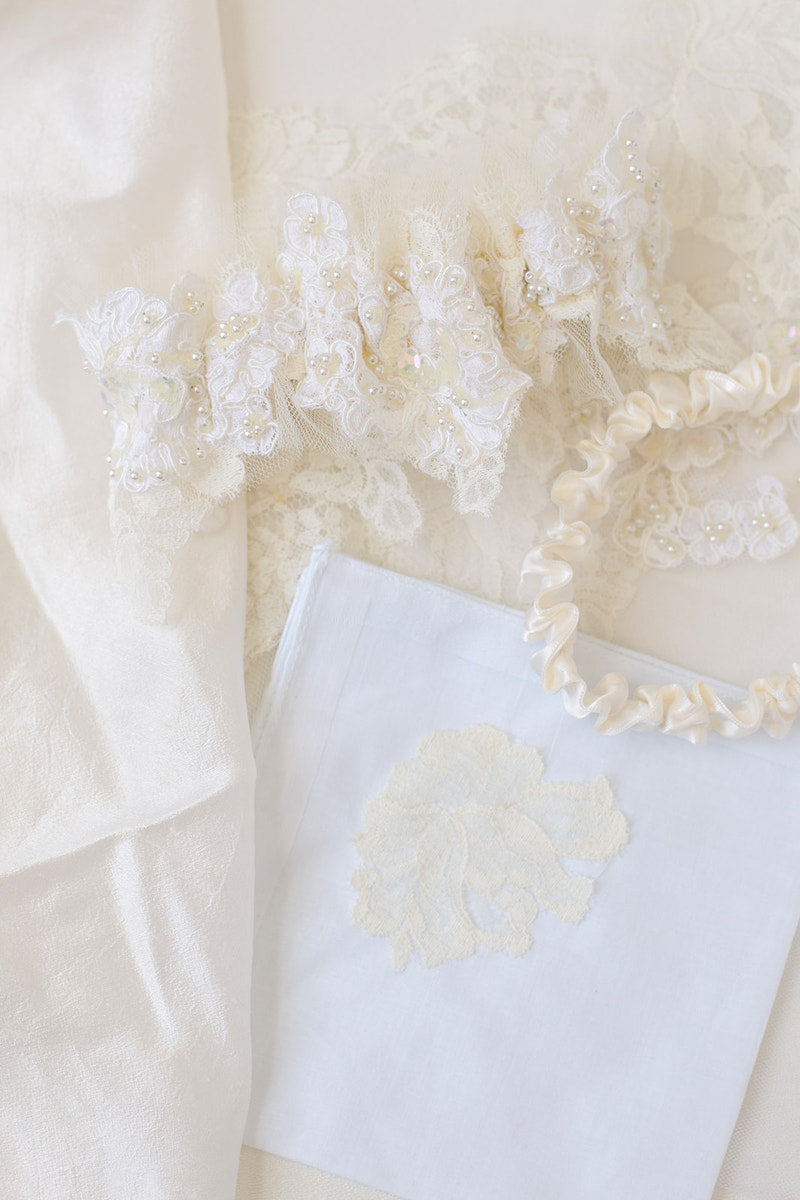 bridal garter and handkerchief made from mother dress and grandmother veil by The Garter Girl