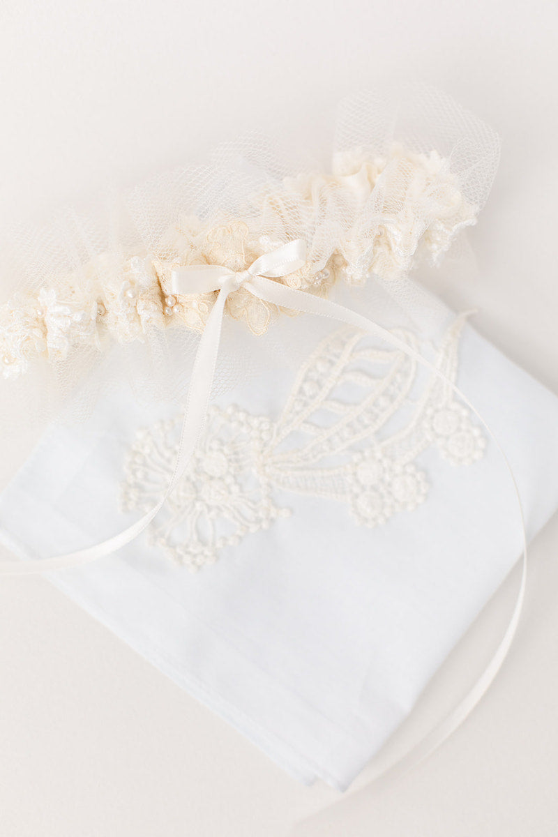 garter and handkerchief made from mom and grandmother's dress