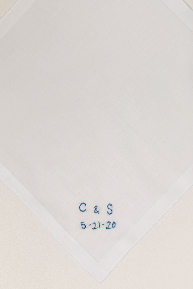 custom wedding handkerchief with initials and wedding date