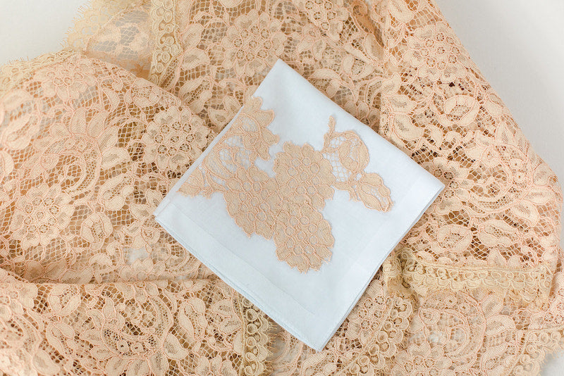 wedding handkerchief with family heirloom lace