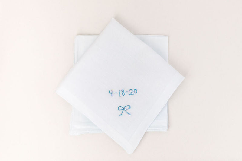 custom wedding hanky with something blue date embroidered