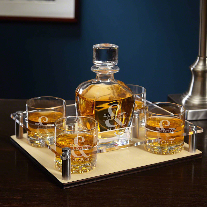Custom Whiskey Decanter Set Gift for Groom