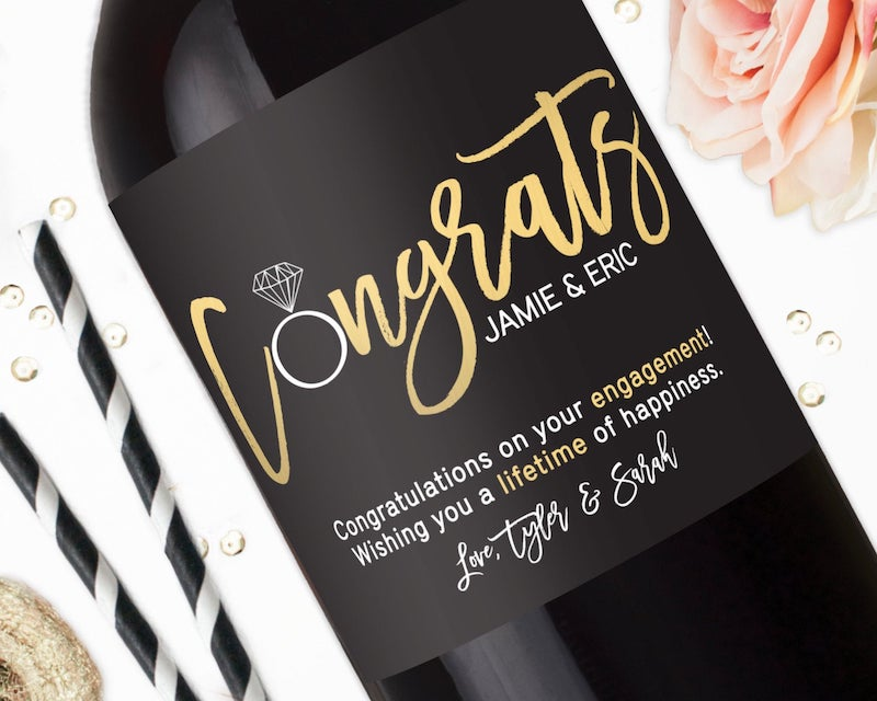 custom wine bottle label for engaged couple