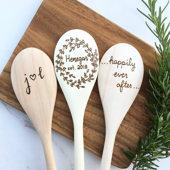 custom wood spoons wedding engagement gift