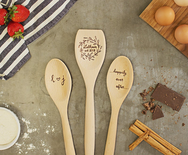 custom wood spoon engagement gift