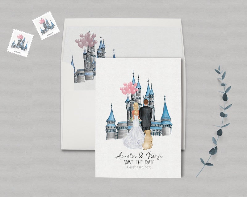 Disney Cinderella's Castle Inspired Save the Date Card