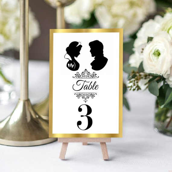 disney couples wedding day table number sign