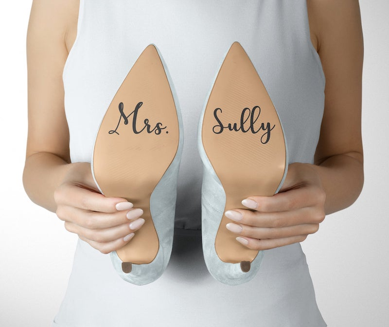 DIY Last Name Sticker for Bridal Shoe Soles