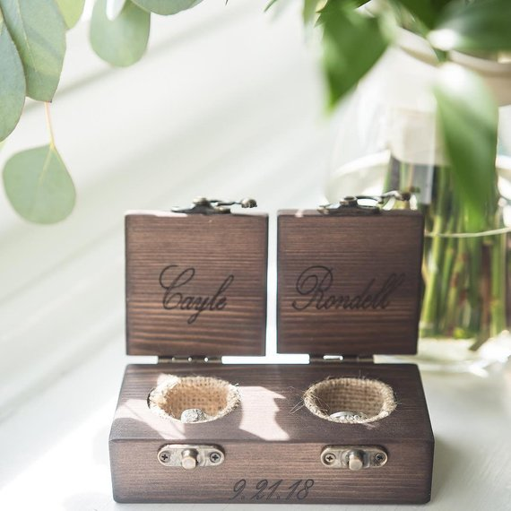double wooden wedding ring bearer box