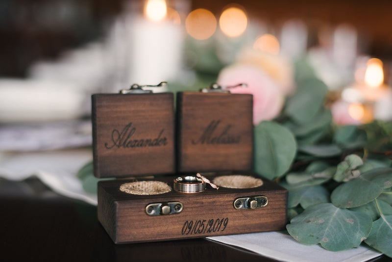 Double Wood Ring Bearer Wedding Ring Box
