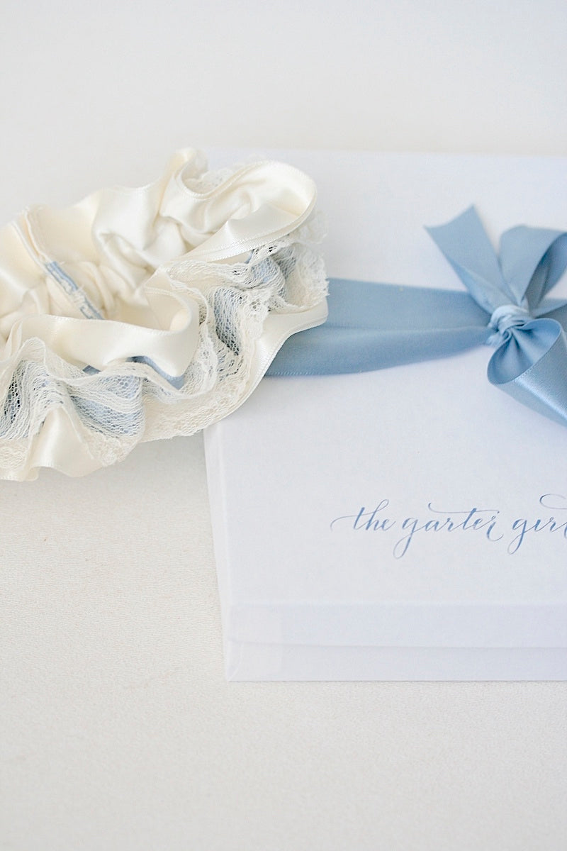 Custom Wedding Garter With Dusty Blue Satin and Ivory Lace