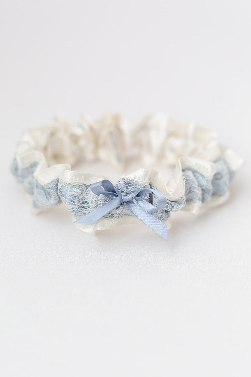 dusty blue and ivory lace bridal garter