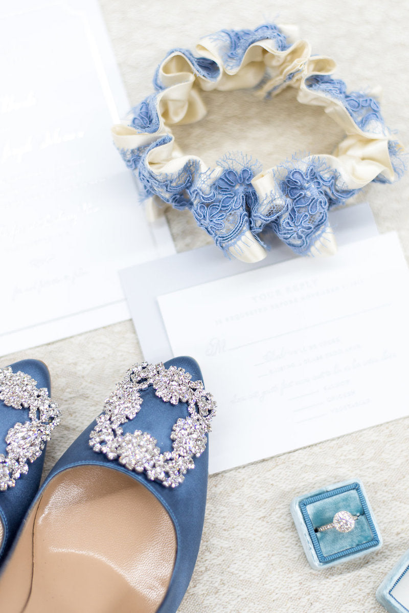 dusty blue wedding accessories for the bride