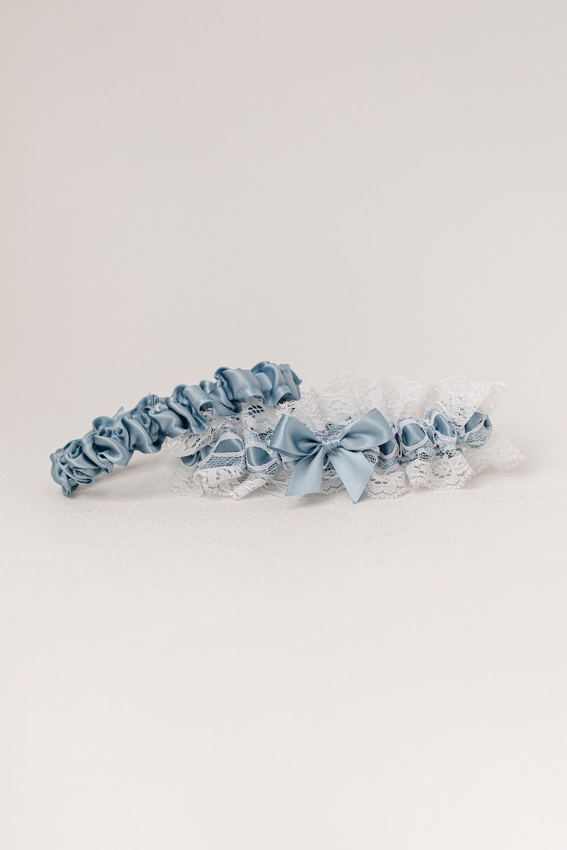 dusty blue wedding garter heirloom with ivory lace