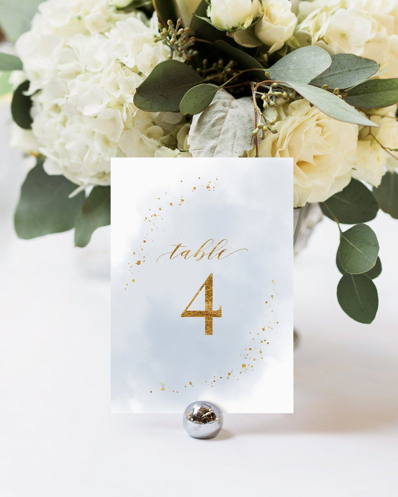 Dusty Blue Table Number