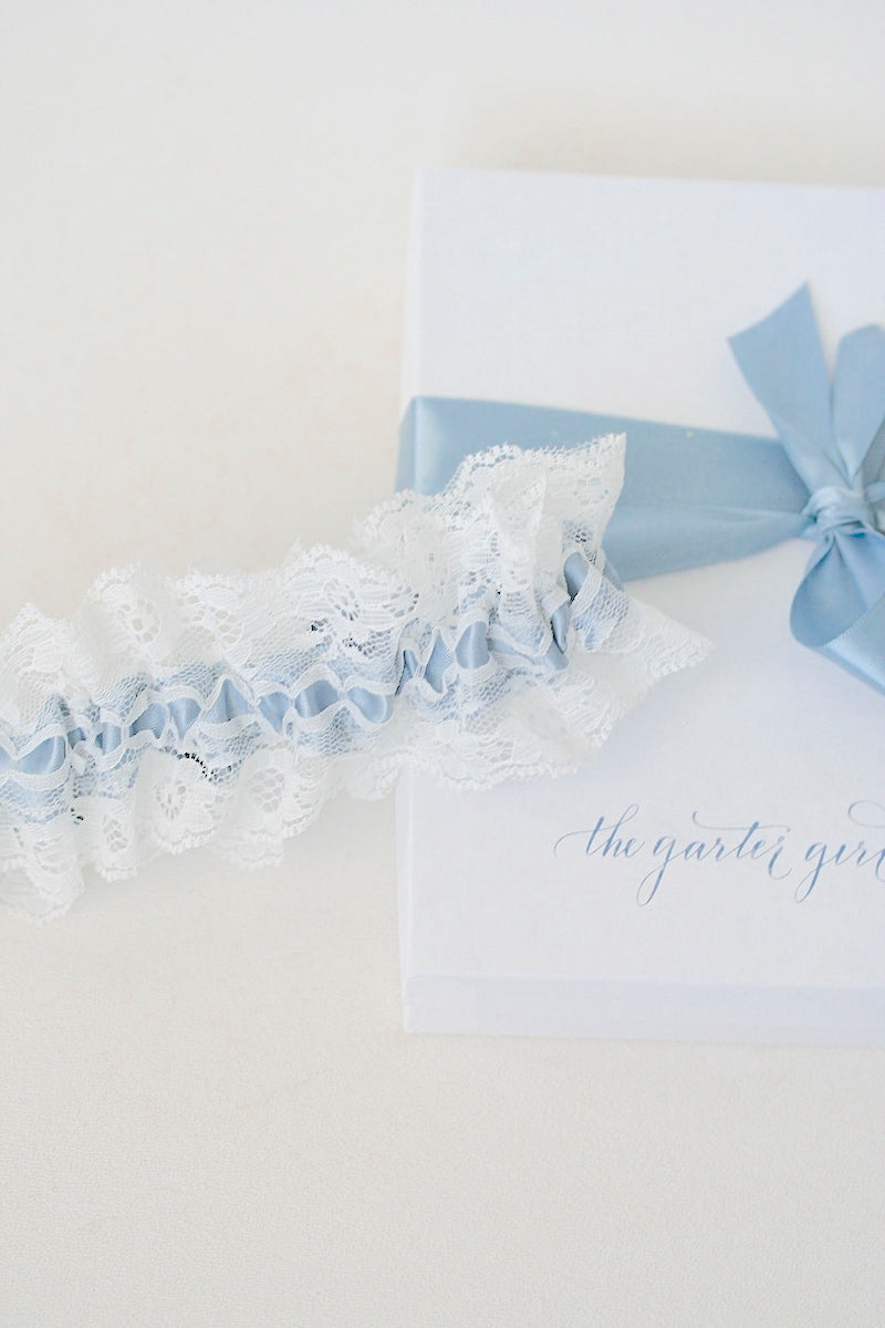 dusty blue satin wedding garter with ivory lace