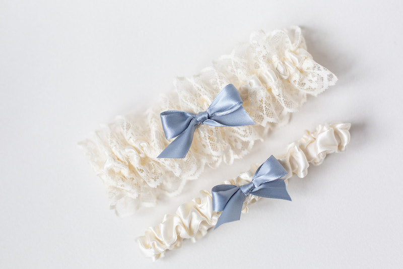 custom wedding garter set with dusty blue and ivory