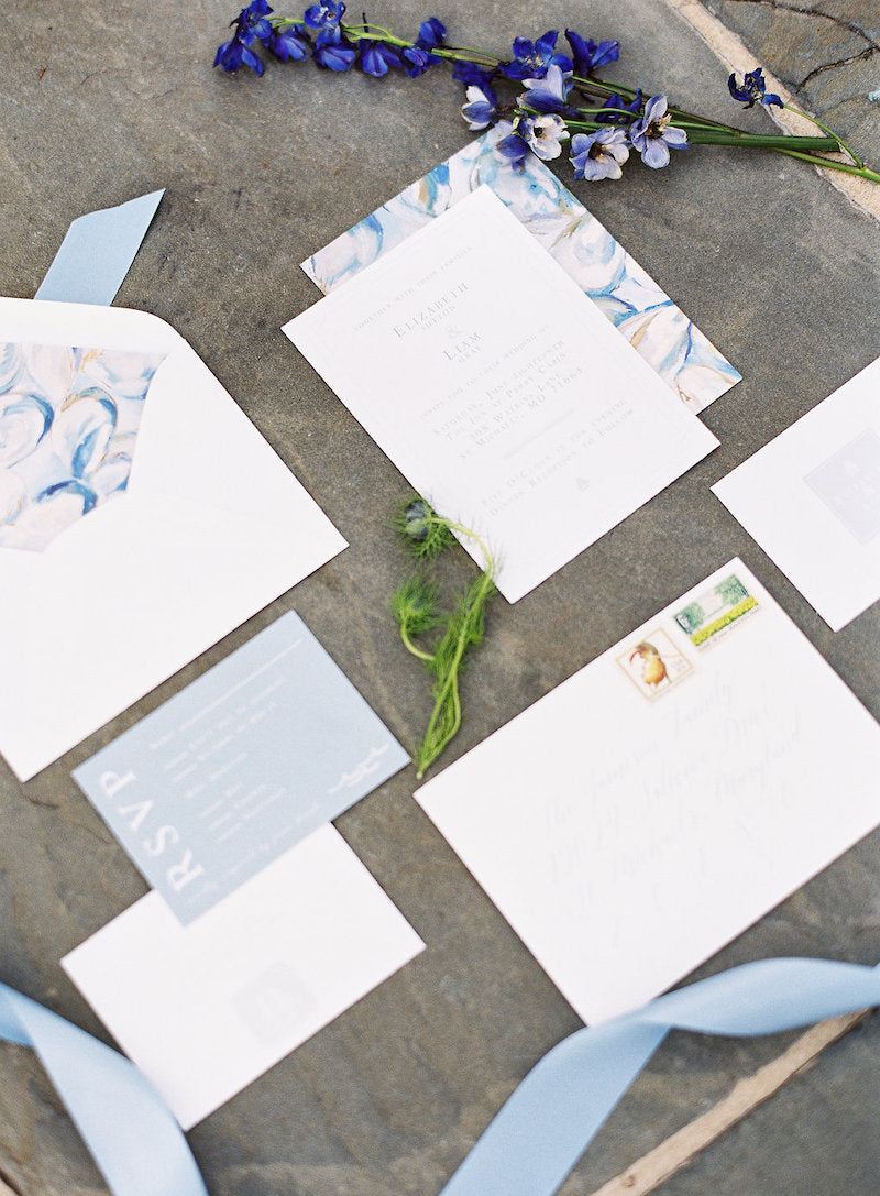 dusty blue wedding invitation suite