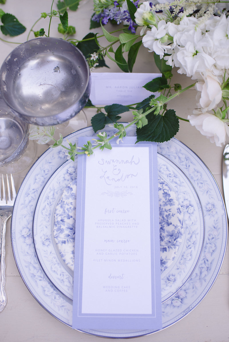 dusty blue wedding china for reception