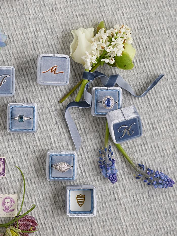 dusty blue wedding ring boxes from The Mrs Box