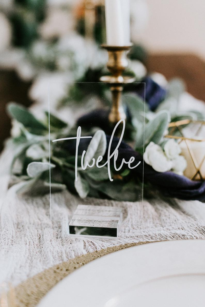 Elegant Acrylic Wedding Table Number Sign