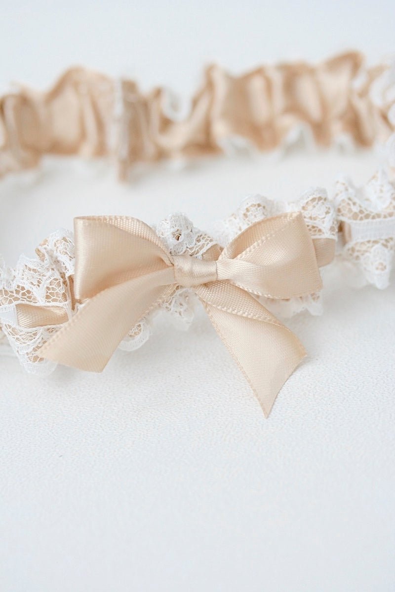 Custom Wedding Garter With Champagne Satin and Ivory Lace