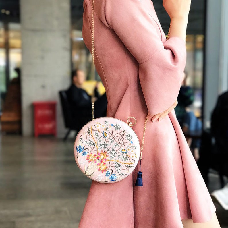 embroidered box clutch wedding rehearsal dinner outfit accessory